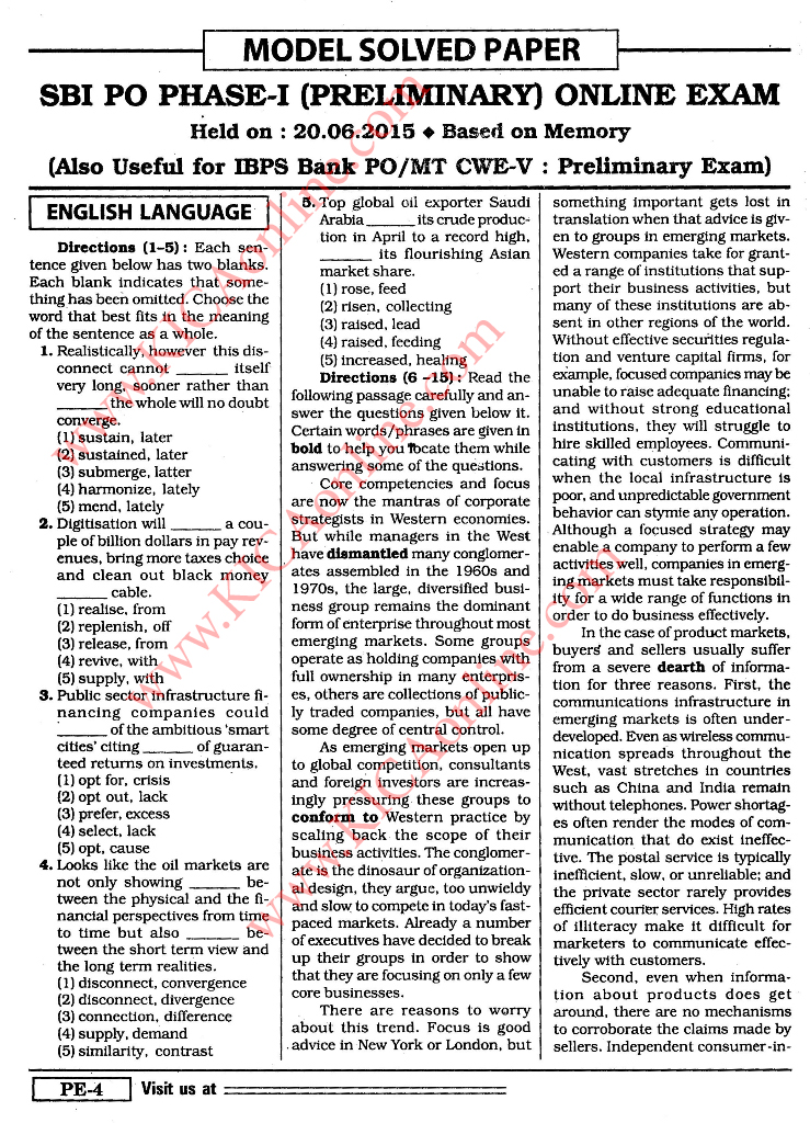 Sbi Po Exam Solved Papers Pdf