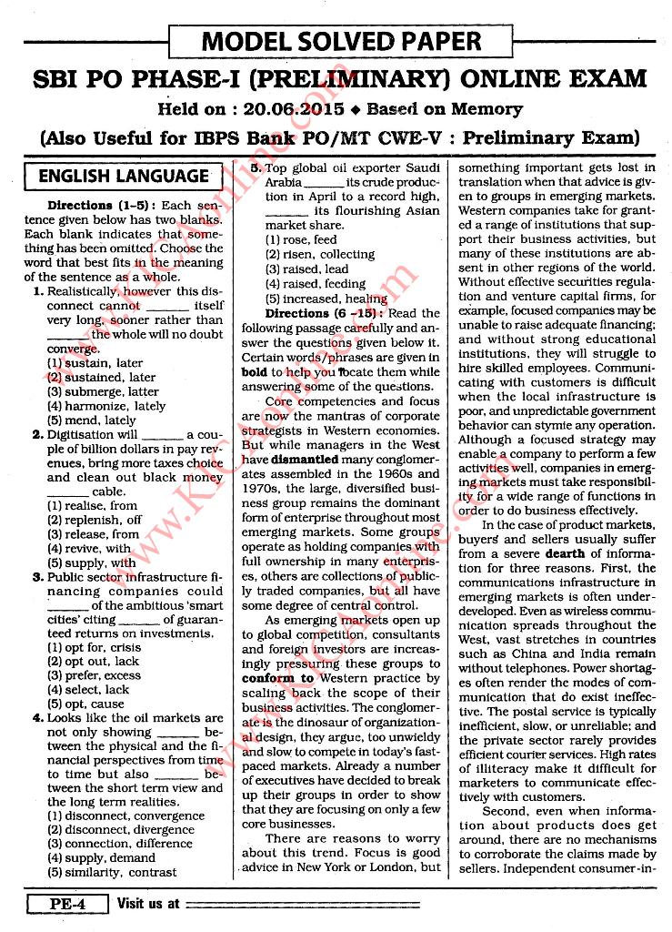 Sbi Bank Po Exam Paper Pdf