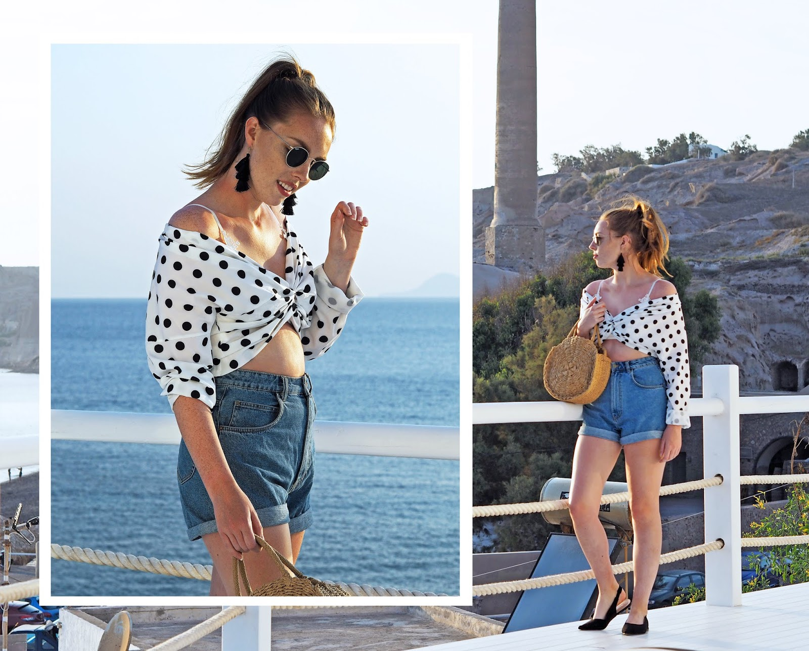 ikrush 80s bardot top spotty