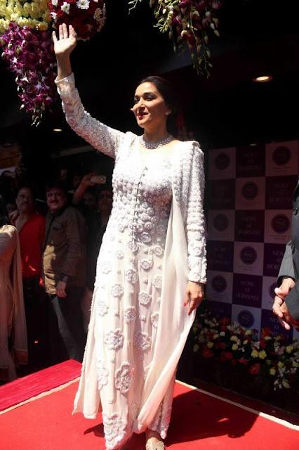"Madhuri Dixit in White Full Sleeves ""V"" Shape Neck Full Sleeves Embroidery Salwar Kameez"