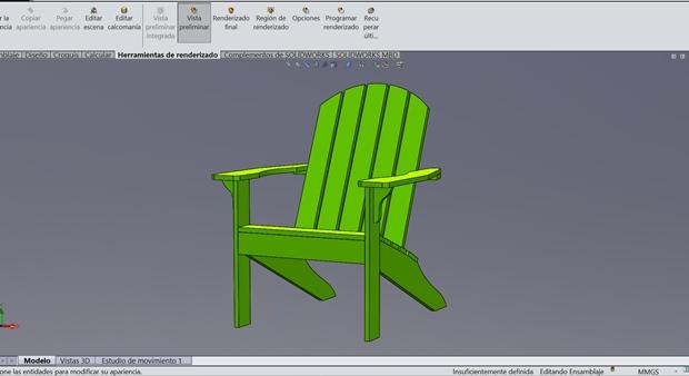 Diseño silla Adirondack con SOLIDWORKS