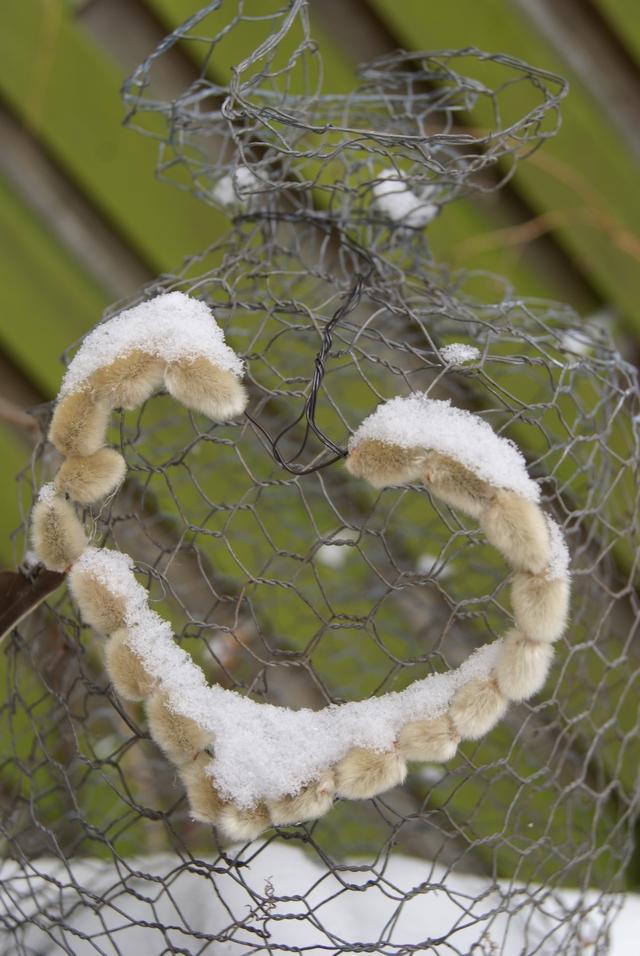 Weidenkätzchenherz mit Schneehaube an Drahtglocke