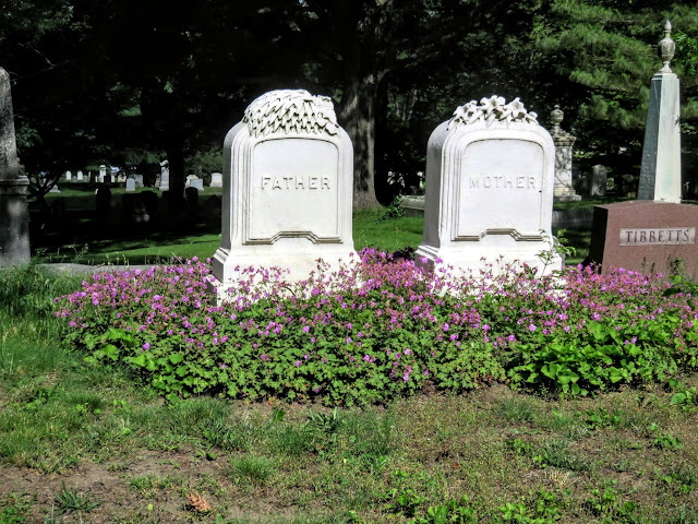 Father and Mother headstones at Mount Auburn Cemetery in Cambridge, Massachusetts