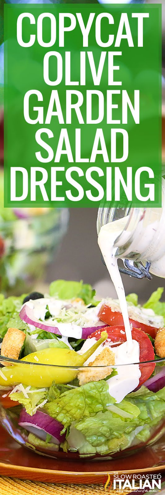 long photo of salad with dressing poured over top