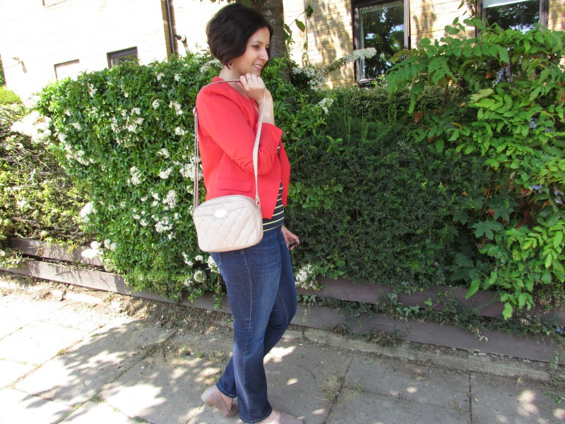 red blazer and neon striped top