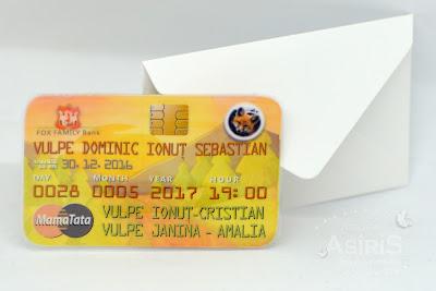 Invitatie Botez Card bancar personalizat vulpe