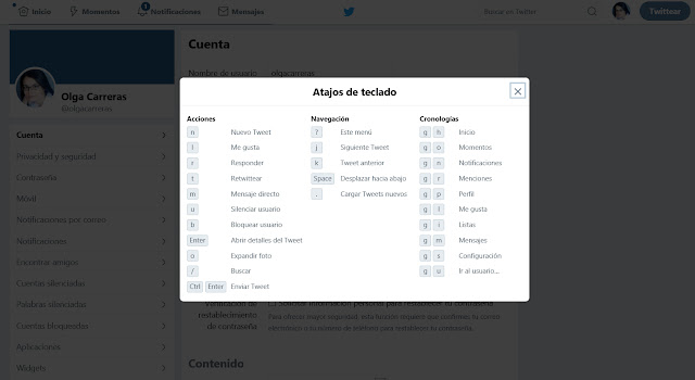 Listado de atajos de teclado de la web de Twitter. Entre ellos hay muchos asociados a una única tecla, por ejemplo la tecla n está asociada a nuevo tuit.