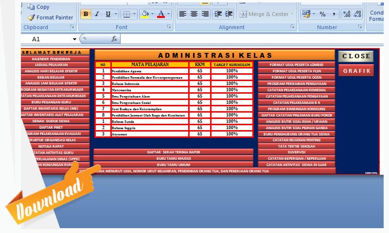 [.xls otomatis] Aplikasi Administrasi Kelas dan Penilaian KSP SD dilengkapi SKHUS Sesuai Aslinya
