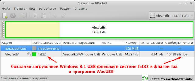 Создание загрузочной Windows 8.1 USB-флешки в системе fat32 и флагом lba в программе WoeUSB