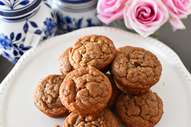paleo banana bread muffins whole 30 clean eating fall baking ginger jar pink roses pumpkin spice
