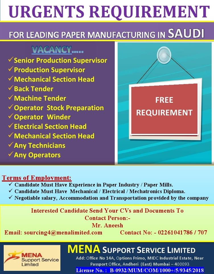 Requirement for Leading Paper Manufacturing in Saudi Arabia