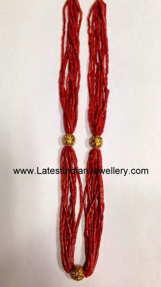 Coral Beads Indian Gold Necklace