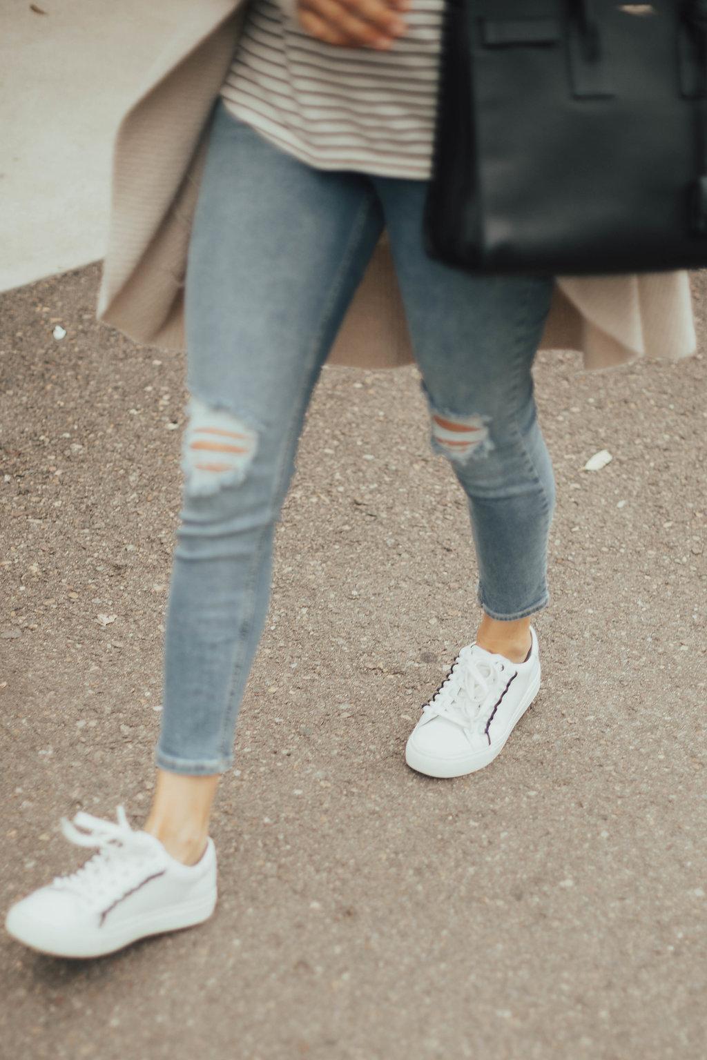 white ruffle sneakers