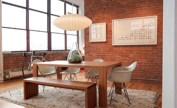 Ruang Makan Unik Dinding Batu Bata Rancangan Desain Rumah Gambar