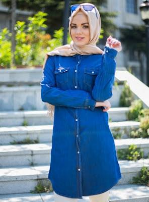 Model Baju kemeja Muslim Jeans Modis dan Trendy Untuk Wanita