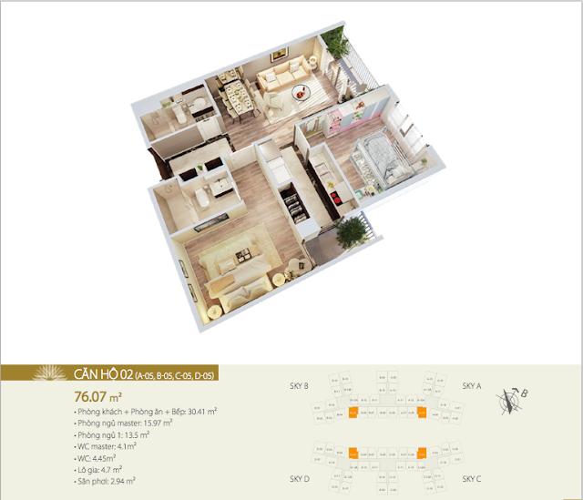 Thiết kế căn 02 chung cư Imperia Sky garden