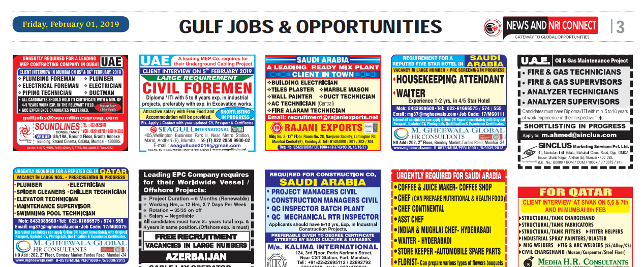 Assignment Abroad Times 10th Aug 2019: NewsandNRIconnect Jobs -02nd