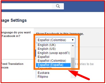 how to change the language on facebook