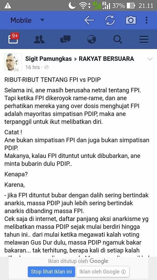 WOW!!! RIBUT-RIBUT TENTANG FPI vs PDIP, Netizen ini Geram: Catat!  Ane Bukan Simpatisan FPI dan juga Bukan Simpatisan PDIP