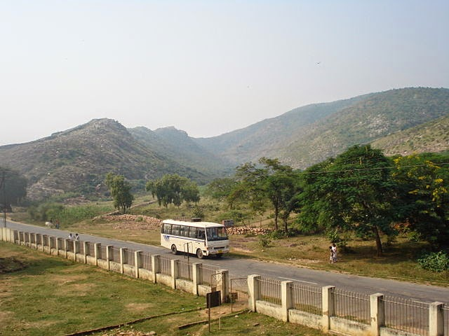 View of Rajgir hills from Jarasandha's Akhara