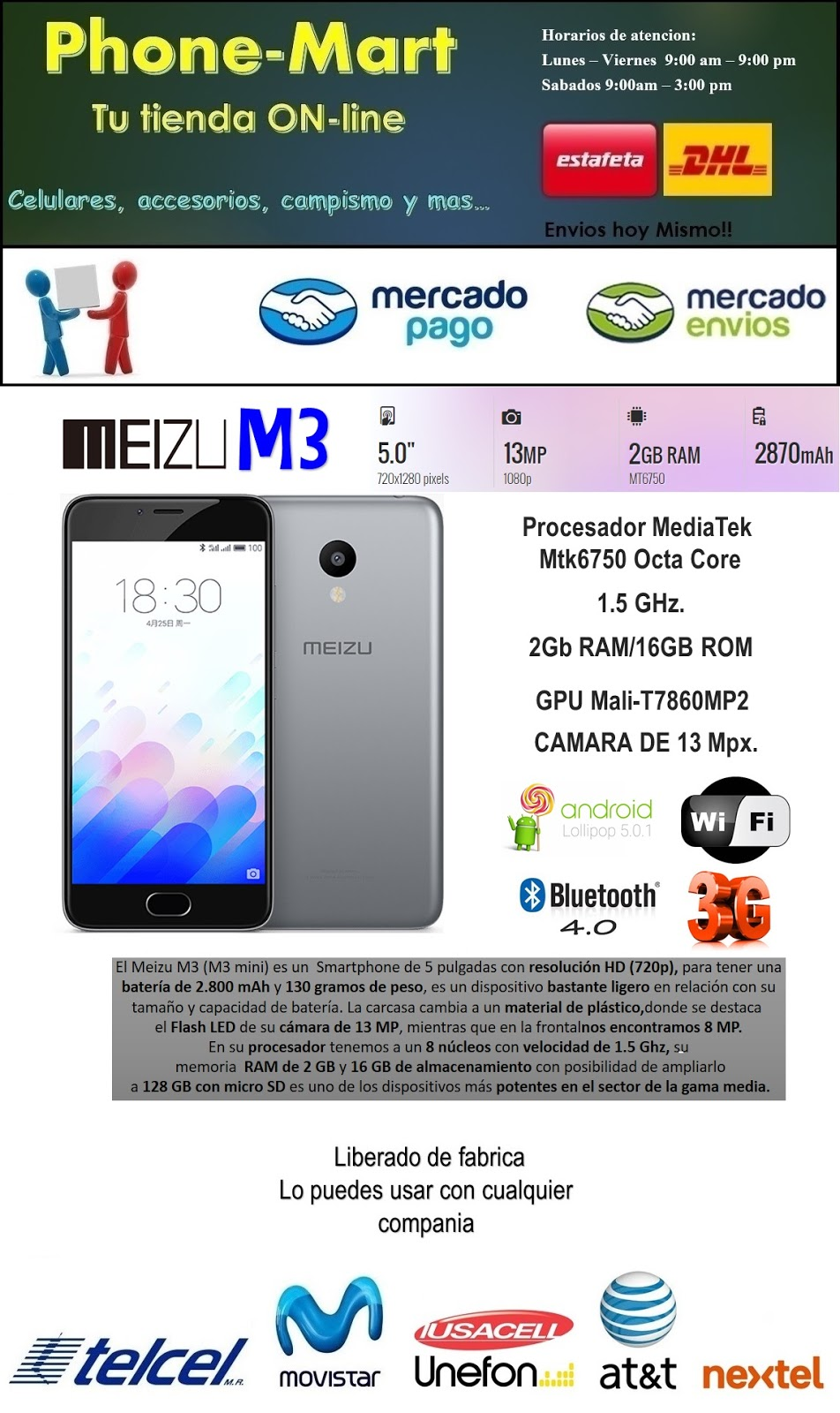 celular meizu M3 smartphone android flyme octa core