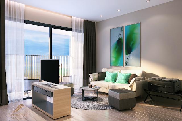 Phòng khách căn hộ dự án Golden peak