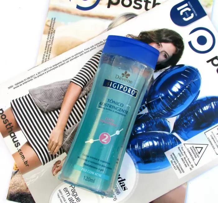 Tônico Adstringente Higiporo Davene para pele com Acne, 120ml, embalagem azul, resenha.