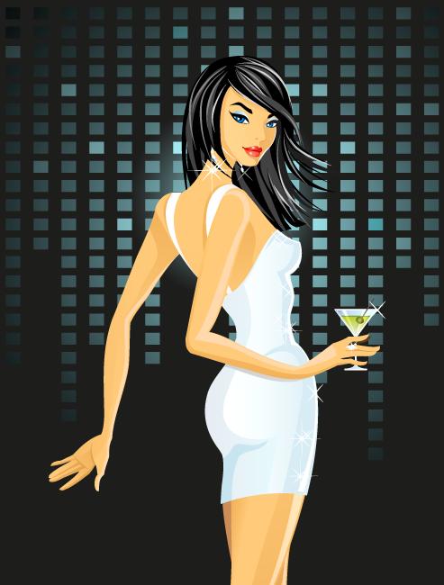 Chica de fiesta con vestido blanco - vector