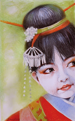 Japanisches Mädchen Zeichnung von Olga David Pastell auf Karton