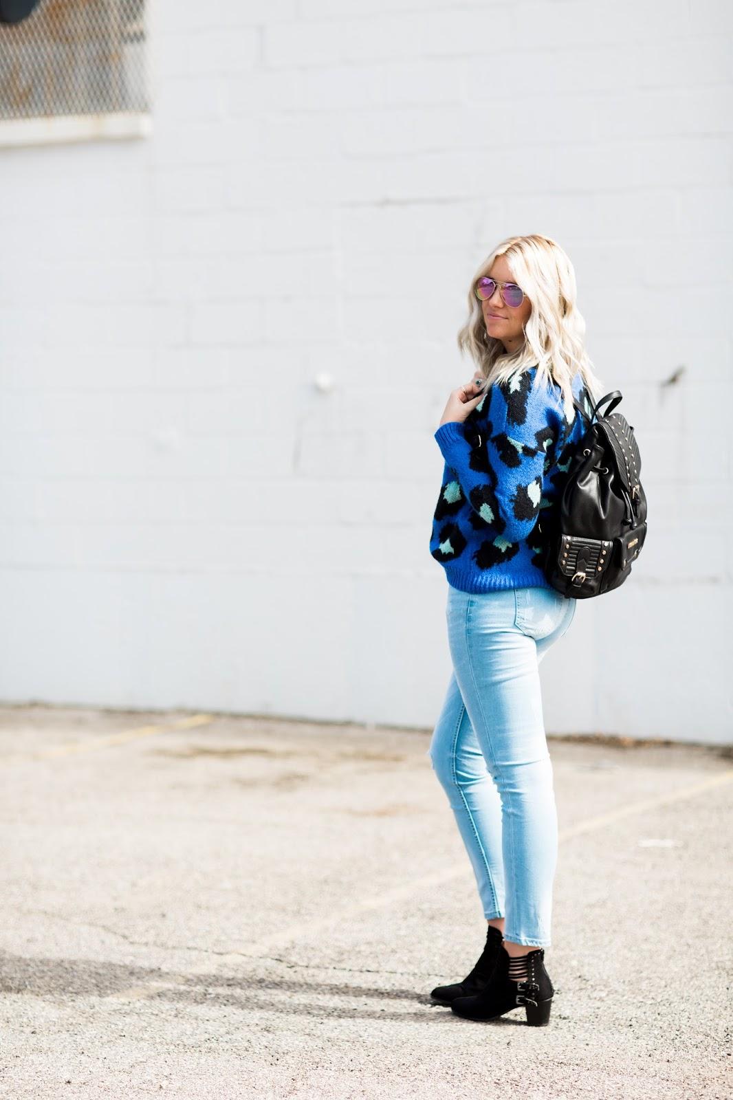 Leopard Sweater, Backpack, Utah Fashion Blogger