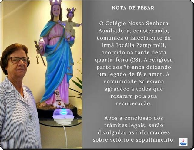 COLÉGIO AUXILIADORA PETROLINA LAMENTA FALECIMENTO DA RELIGIOSA IRMÃ JOCÉLIA ZAMPIROLLI