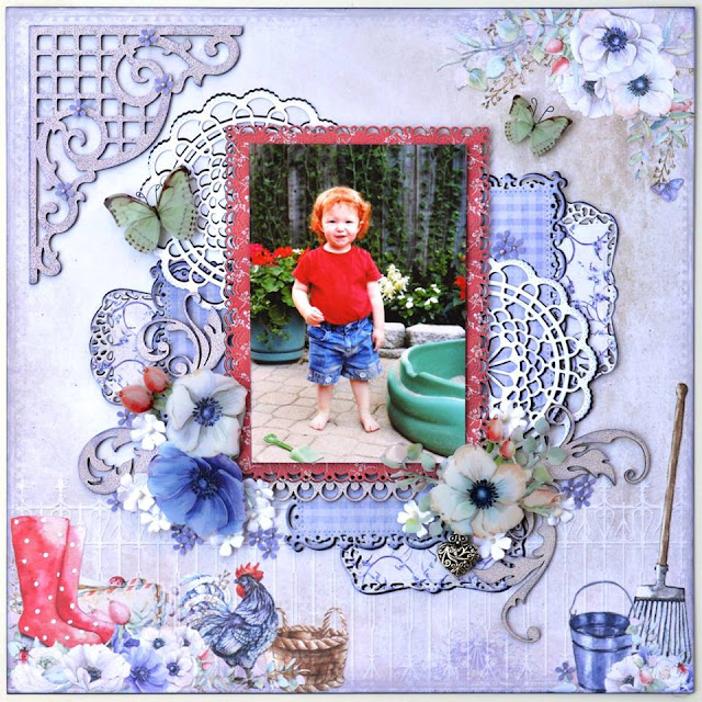 Scraps of Elegance scrapbook kits: lavender/purple shabby chic layout w/our July2017 kit, by Tracy Funk. 49 and Market Cottage Life.
