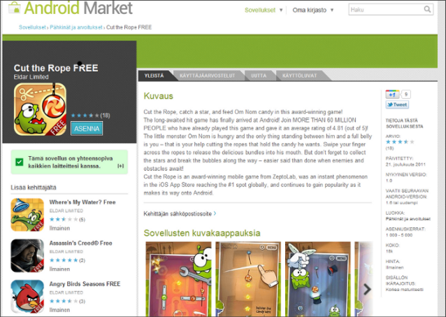 Official Android Market host many Malware Games