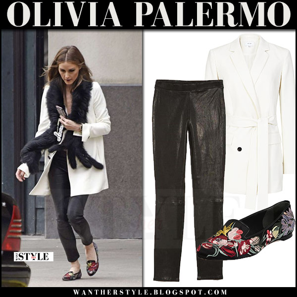 Olivia Palermo in white reiss angie blazer, black leather j brand l8007 pants and floral loafers alexander mcqueen what she wore may 27 2017