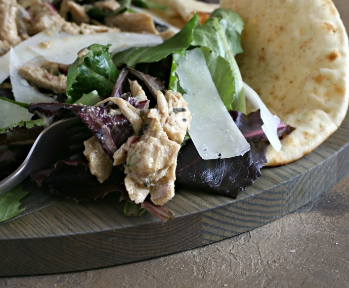 Caesar salad with rotisserie chicken and a tahini based dressing.