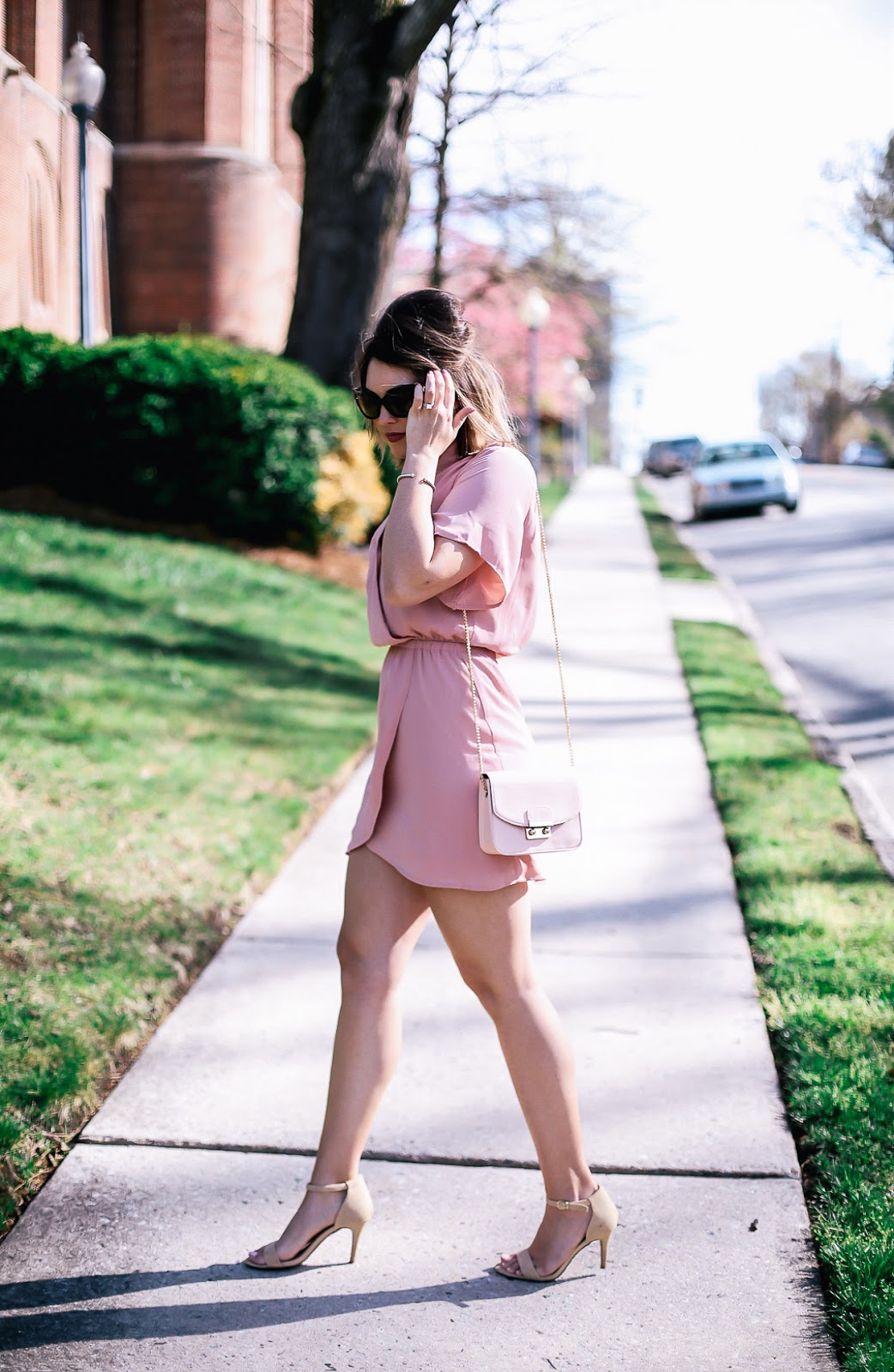 blush wrap dress, blush dress