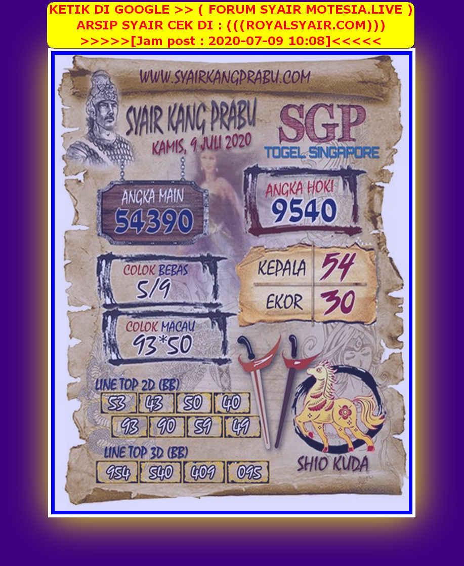 Kode syair Singapore Kamis 9 Juli 2020 176