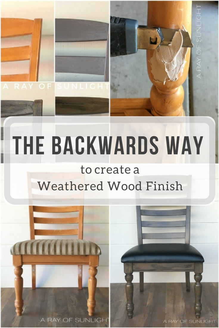 Weathered Wood Finish Makeover by A Ray of Sunlight with Paint and Stain for a farmhouse feel