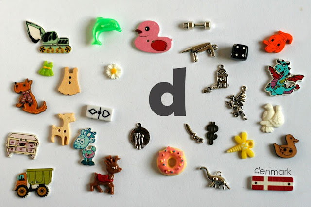 TomToy Individual letter D I spy trinkets for alphabet, Miniature abc objects, Montessori alphabet. Sorting toddler activities