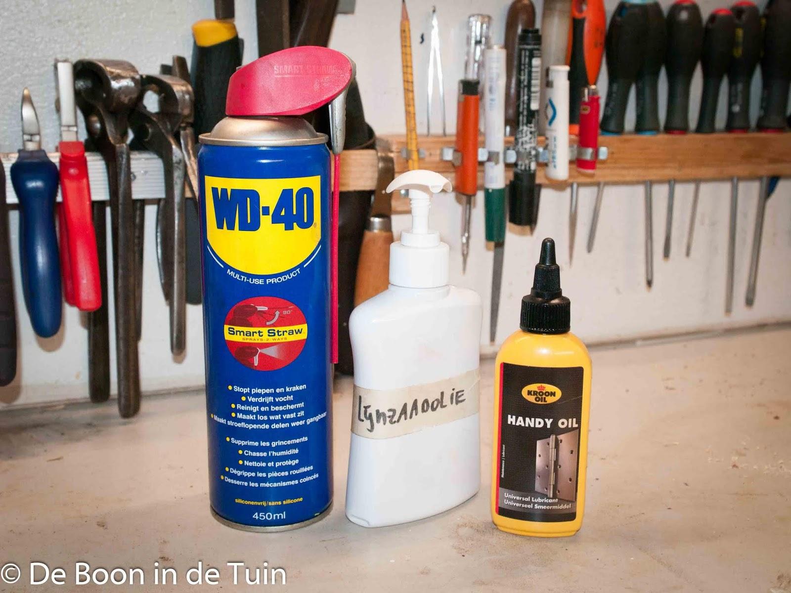 smeermiddelen olie wd40 tuingereedschap onderhouden