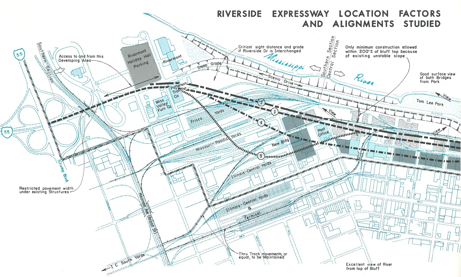 this map shows the southern portion of the expressway in greater detail and several alternate routes the south bluffs development which would eventually
