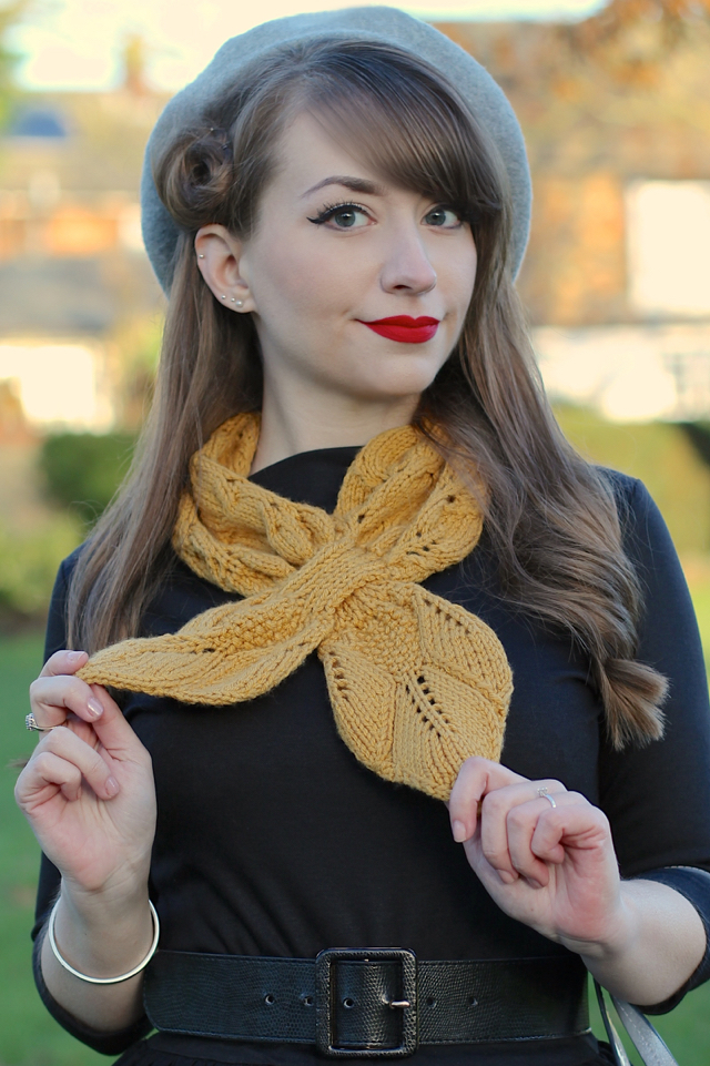 Vivien of Holloway slash neck top with Ascot scarf