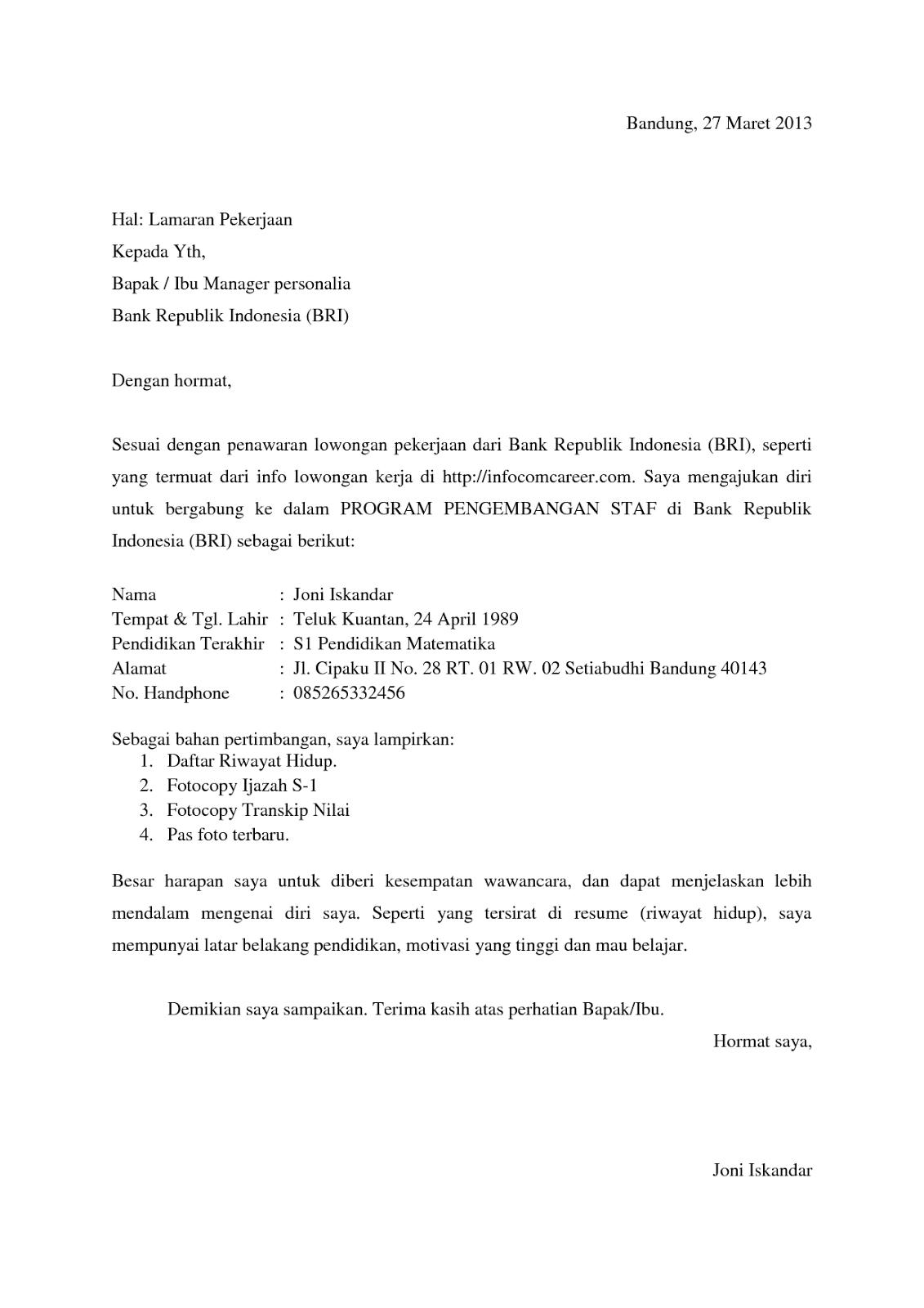 Surat Lamaran Starbucks Indonesia