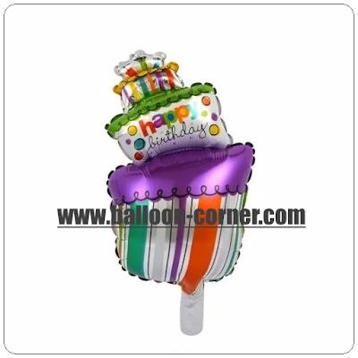 Balon Foil Happy Birthday Cake Miring Mini