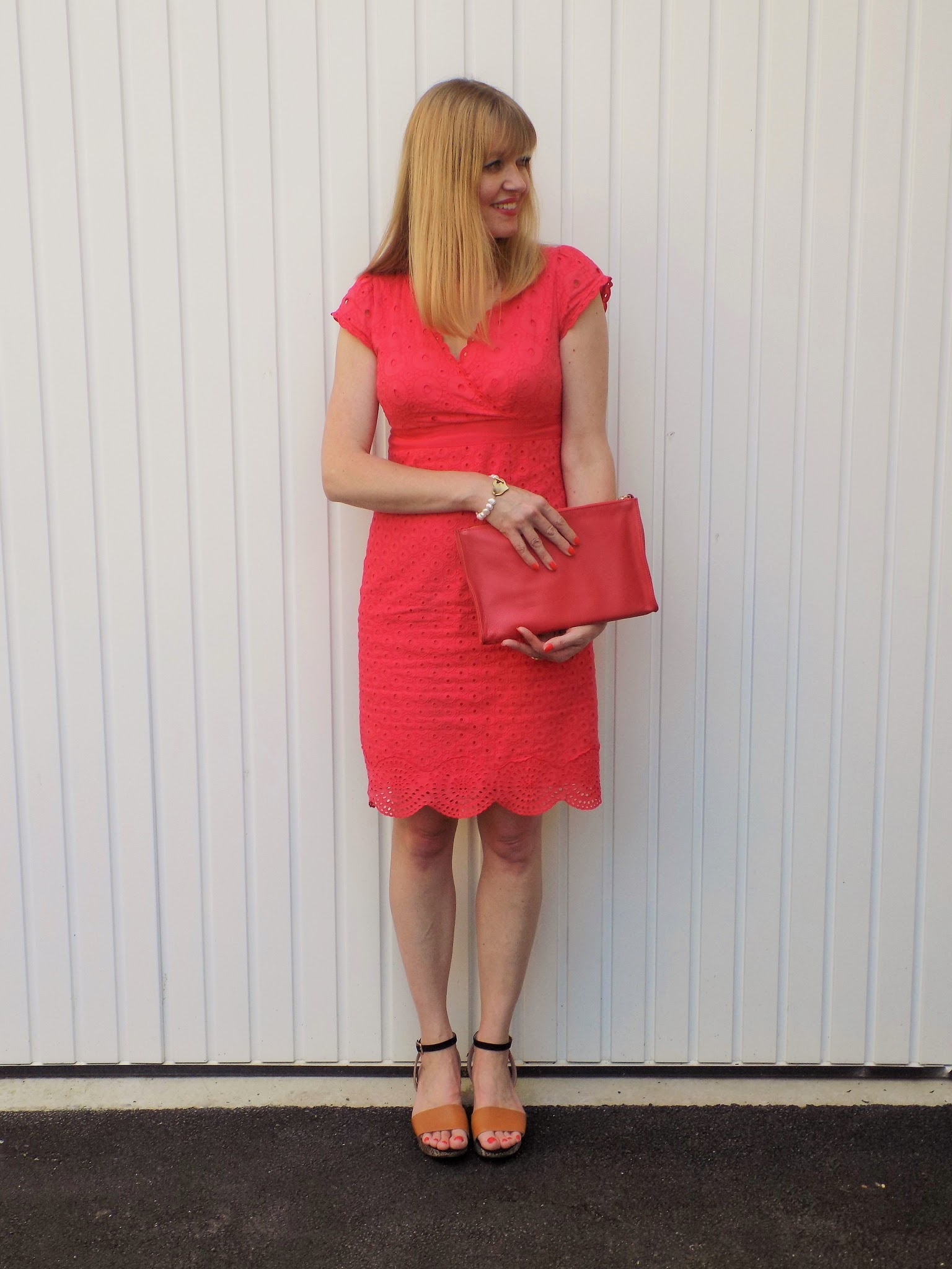 Boden red broderie Anglaise dress, snake print wedge sandals and red clutch