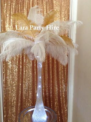 Lara Party Hire Ostrich Feather Centerpieces