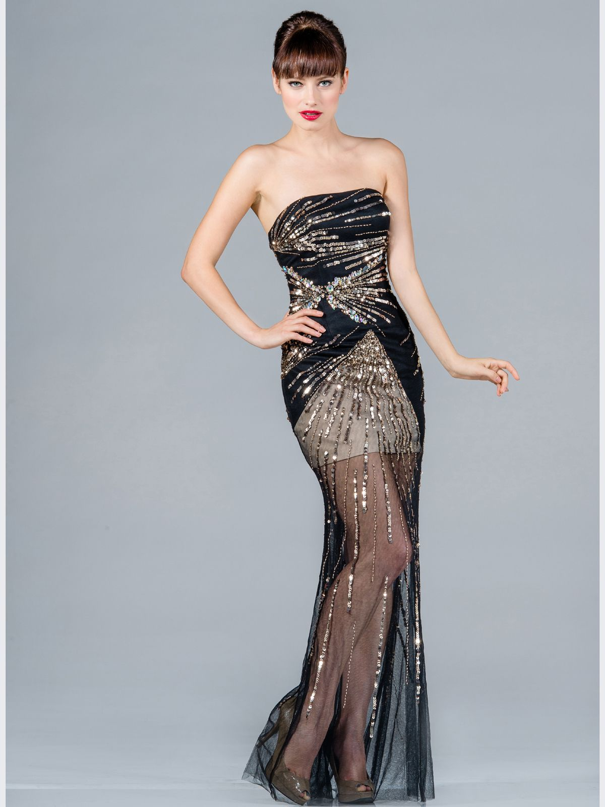 Cantika Maya: Black And Gold Sequin Prom Dress
