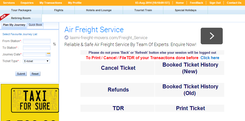 IRCTC next generation e-ticketing system