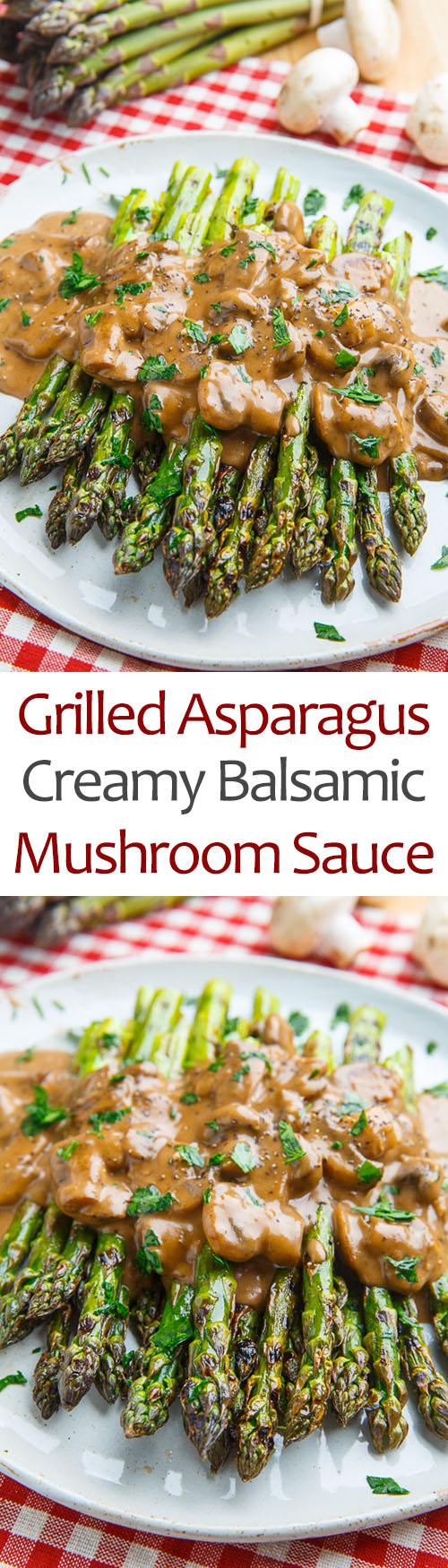 Grilled Asparagus in a Creamy Balsamic Mushroom Sauce