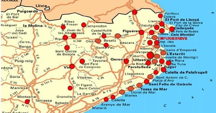 Carte Espagne La Catalogne.Espagne Costa Brava Costa Blanca Andalousia Etc